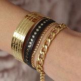 Leather black gold bracelet_