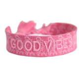 Geweven armand Good Vibes Only Pink