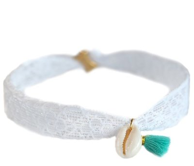 Anklet shell white lace
