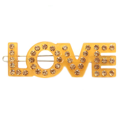 Barrette à cheveux love strass jaune