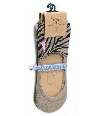 Chaussettes sneaker (lot de 2) Léopard olive et zèbre taupe
