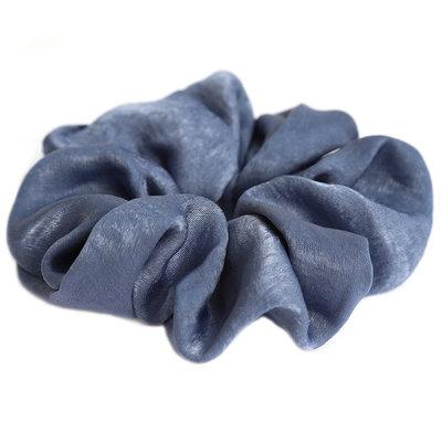 Chouchou en soie bleu