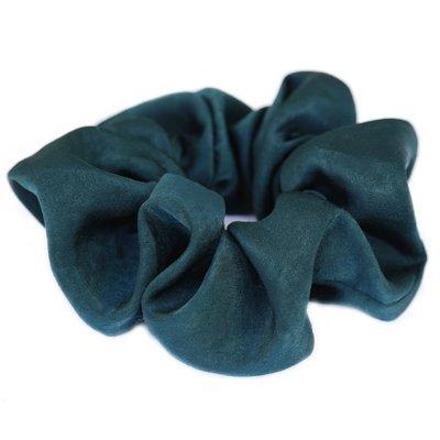 Chouchou en soie vert/bleu