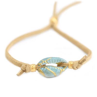 Bracelet ocean shell suède