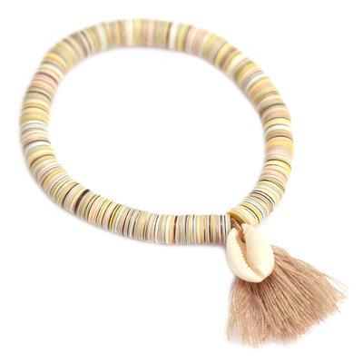Bracelet coquillage flocons beige
