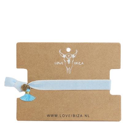 Bracelet en velours - bleu bébé
