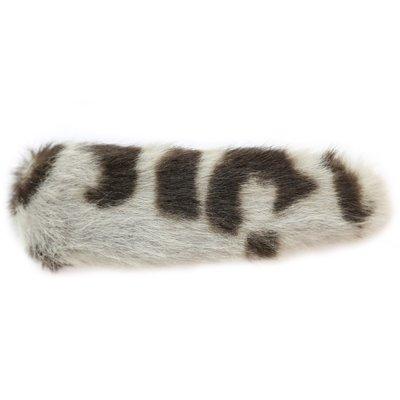 Pince à cheveux fausse fourrure léopard gris