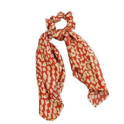 Écharpe chouchou en soie rouge/crème