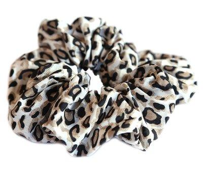 Chouchou en coton léopard naturel