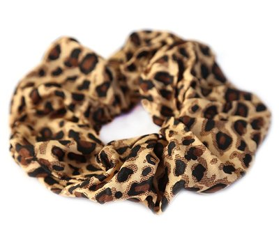 Chouchou en coton léopard marron