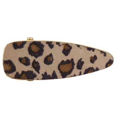 Pince à cheveux tendance - Velours Leopard beige