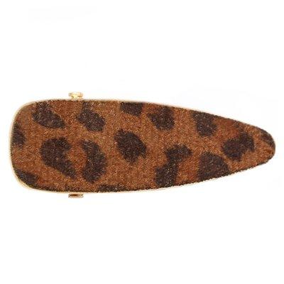 Barrette à cheveux tendance - Velours Léopard marron