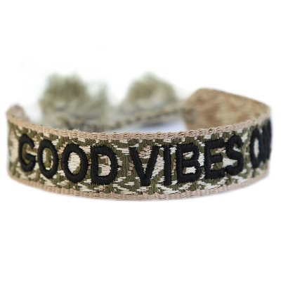 Good vibes only bracelet army green