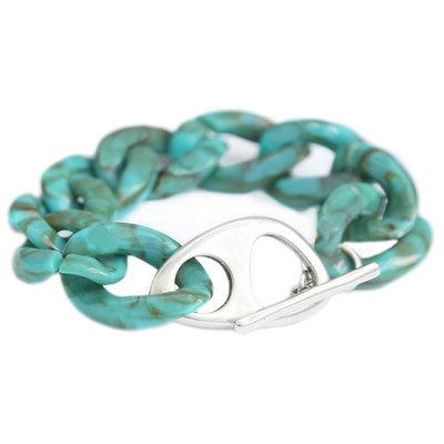 Bracelet azur marble chain argent