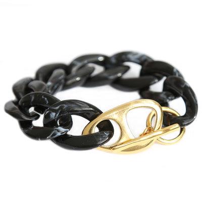 Bracelet black marble chain gold