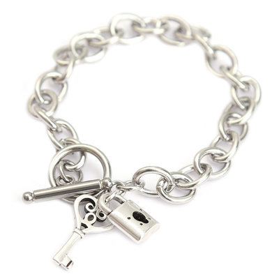 Bracelet lock and key argent