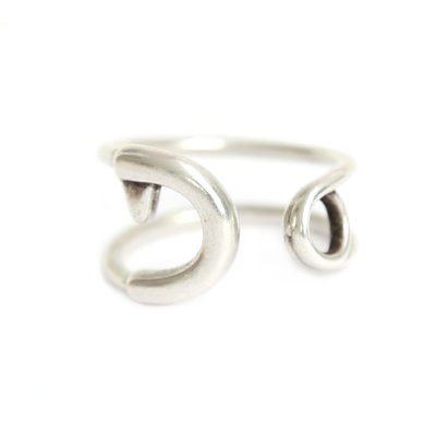 Bague safety pin argent