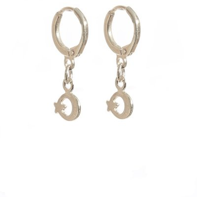 Boucle d'oreille - Moon and Star silver