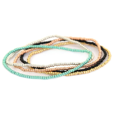 Bead bracelet set metallic