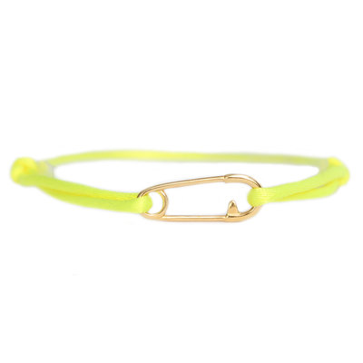 Safety pin bracelet neon yellow