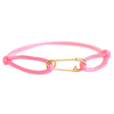 Safety pin bracelet neon pink