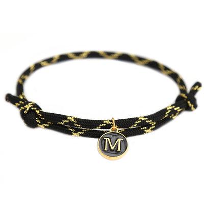 Bracelet initial noir or
