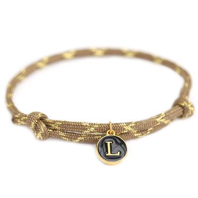 Bracelet initial marron or