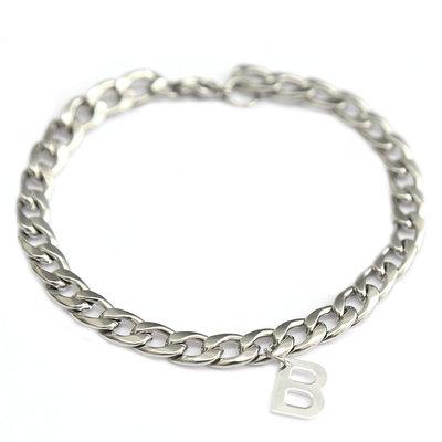 Bracelet chain initial argent