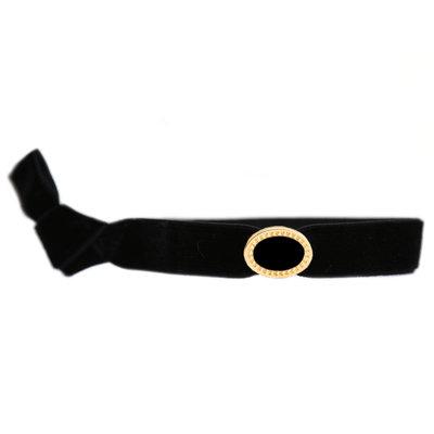 Velvet bracelet charm noir or