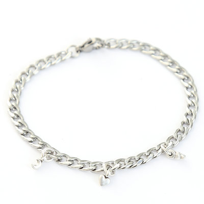 Moon heart star bracelet argent