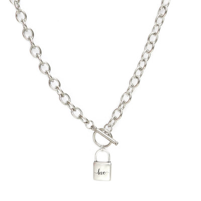 Collier chain lock argent