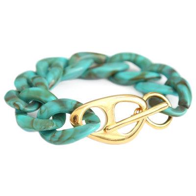 Bracelet azur marble chain or