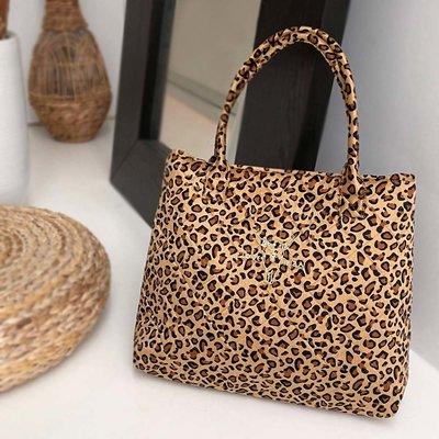 Sac à bandoulière velours leopard