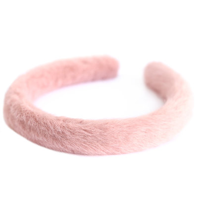 Bandeau faux fur rose