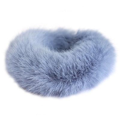 Chouchou faux fur bleu