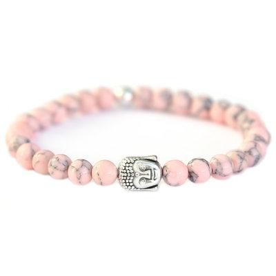 Bracelet Bouddha Pierre marble rose tendre