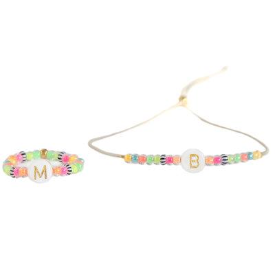 SET - Bracelet initial et bague initiale Ibiza été