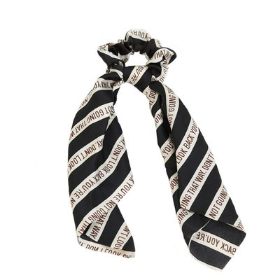 Chouchou écharpe en soie look noir
