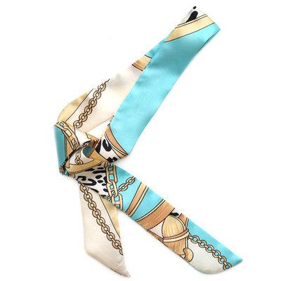 Echarpe en soie baroque bleu