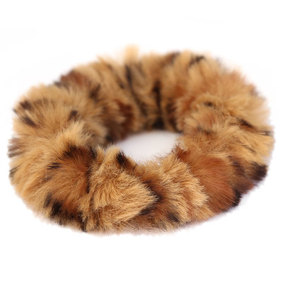 Chouchou faux fur léopard