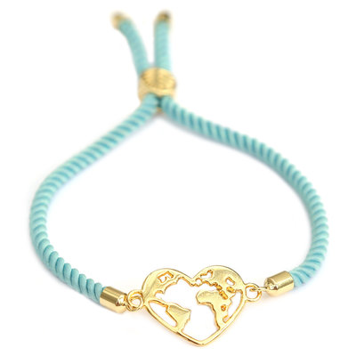 Bracelet heart earth bleu