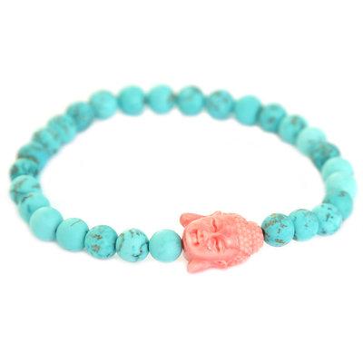 Bracelet Bouddha turquoise corail