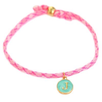 Bracelet initiale hot pink