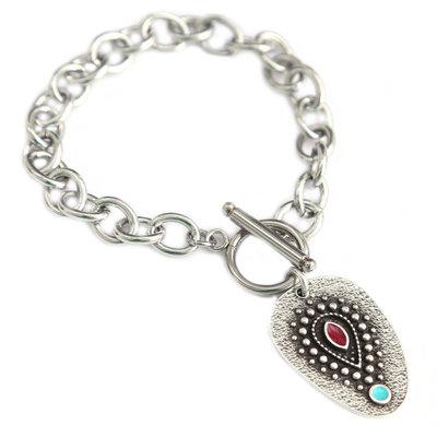 Bracelet turquoise eye silver amulet