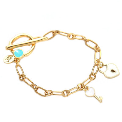 Bracelet key to your heart blanc or