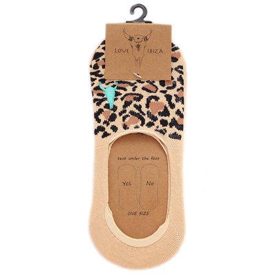 Chaussette sneaker léopard beige