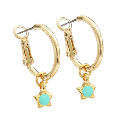 Boucle d'oreille turquoise star gold