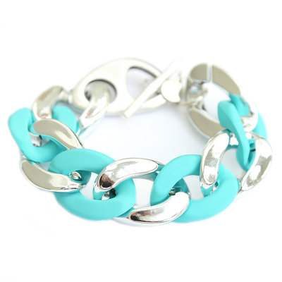 Bracelet large chain argent turquoise