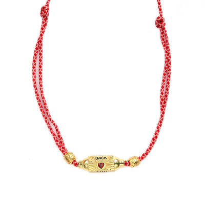 Collier prayer box love you back red