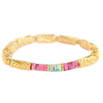 Bracelet marble stone gold